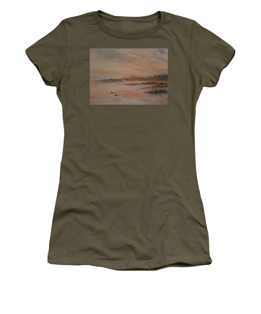 Landscape;geese;birds; Marshes; Sunset Women's T-Shirt (Athletic Fit) featuring the painting Canadian Geese At Sunset by Ben Kiger