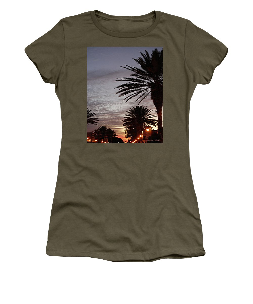 New Smyrna Beach Women's T-Shirt featuring the photograph Canal Street At Dusk by DigiArt Diaries by Vicky B Fuller