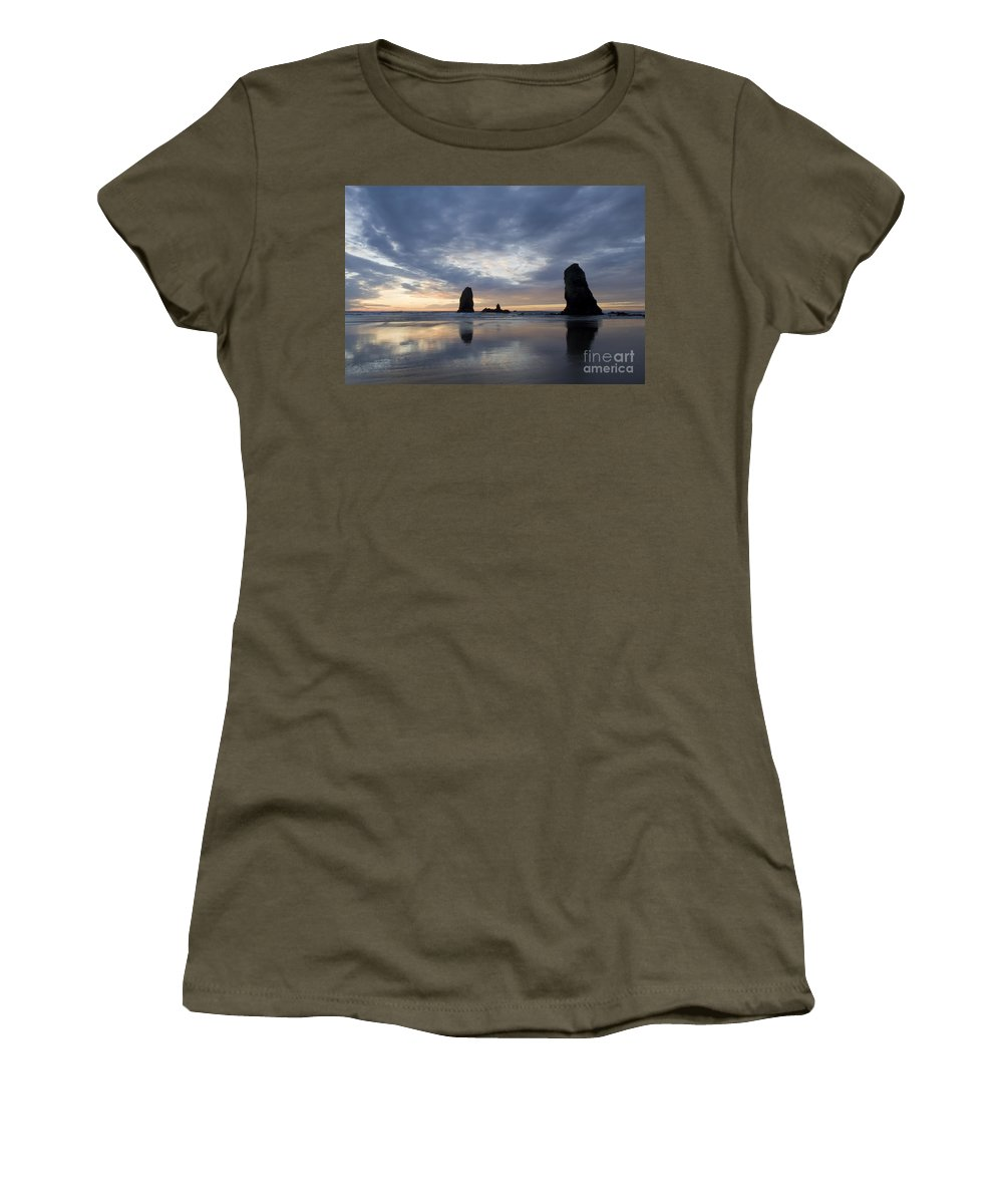 Cannon Beach Women's T-Shirt featuring the photograph Cannon Beach At Sunset 5 by Bob Christopher