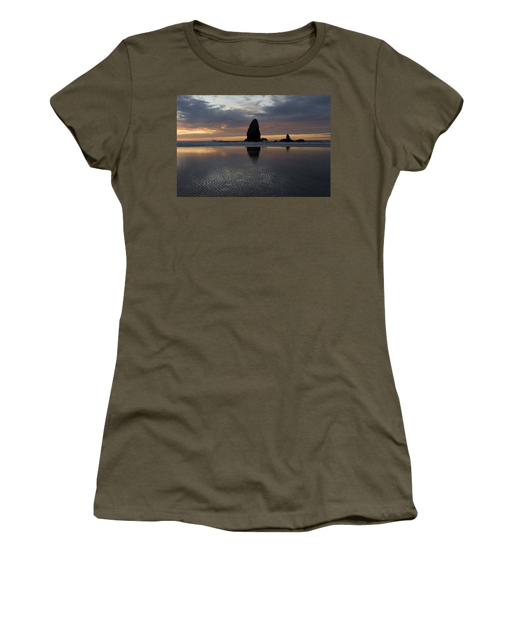 Cannon Beach Women's T-Shirt featuring the photograph Cannon Beach At Sunset 7 by Bob Christopher