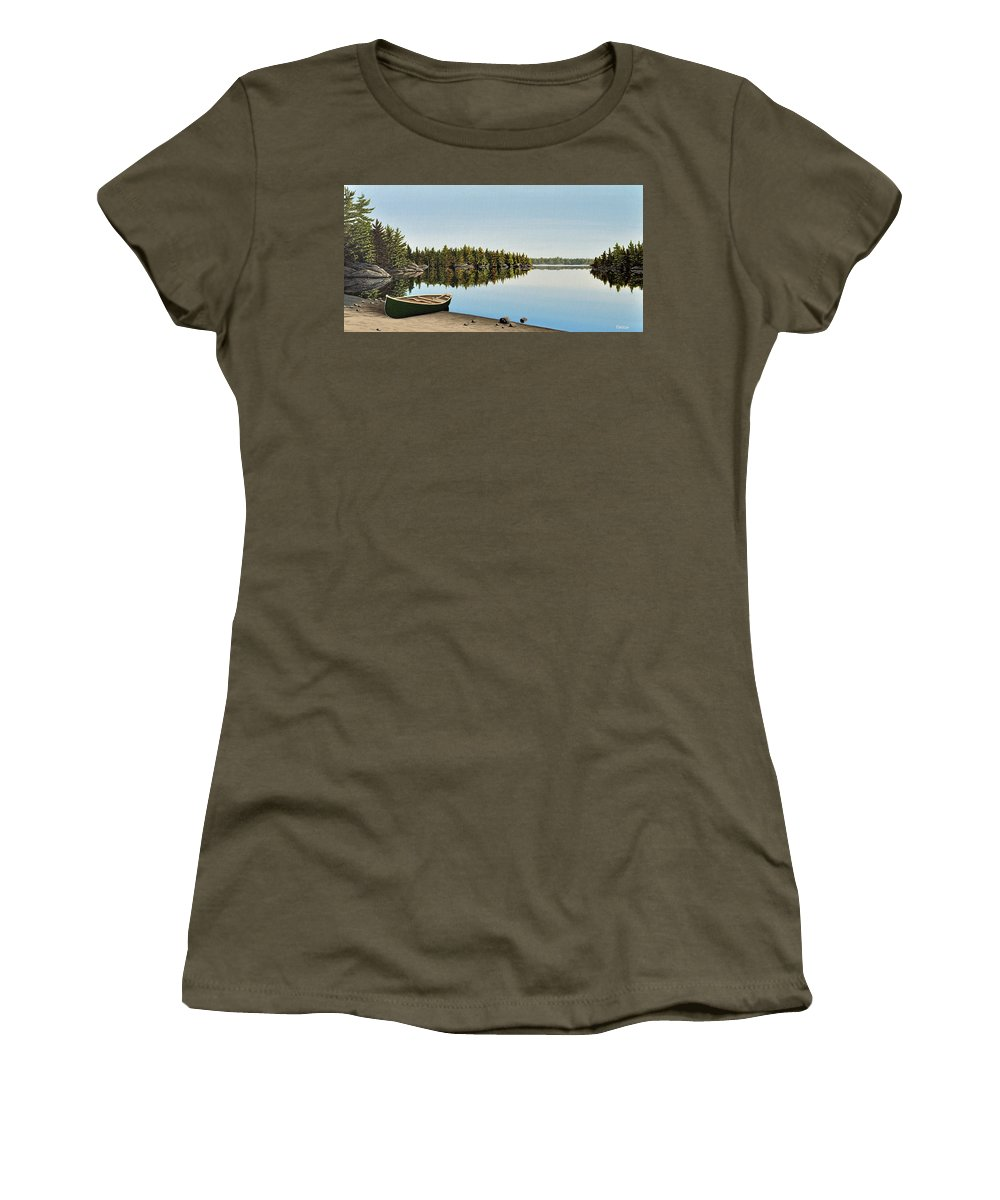 Canoe Women's T-Shirt (Athletic Fit) featuring the painting Canoe The Massassauga by Kenneth M Kirsch