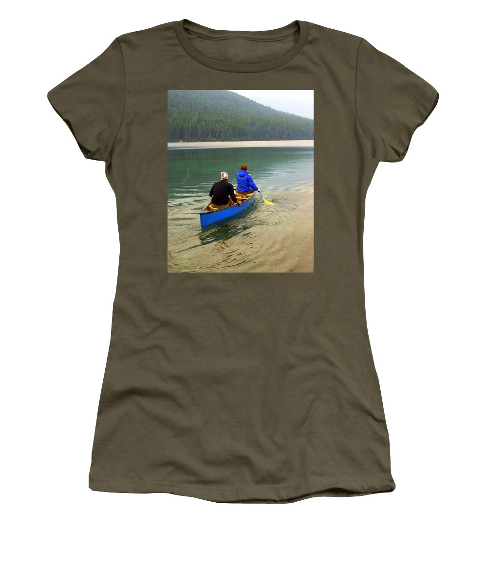 Glacier National Park Women's T-Shirt (Athletic Fit) featuring the photograph Canoeing Glacier Park by Marty Koch