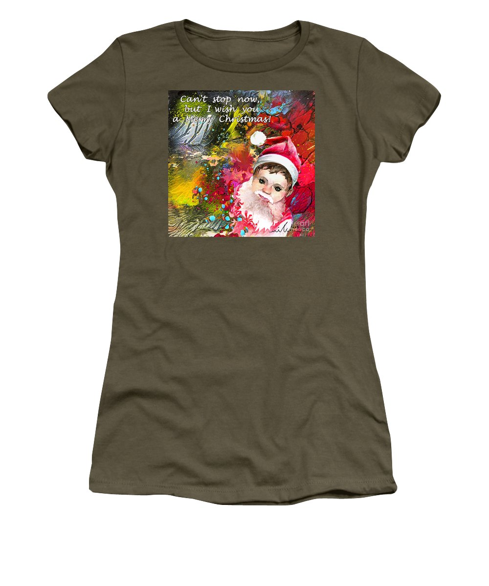 Santa Baby Painting Women's T-Shirt (Athletic Fit) featuring the painting Cant Stop Now by Miki De Goodaboom