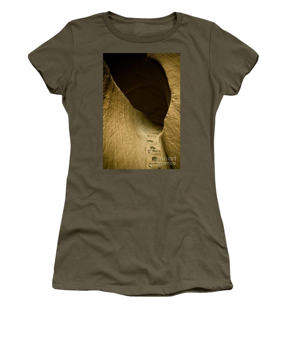 Photograph Women's T-Shirt featuring the photograph Canyon Steps by Scott Sawyer