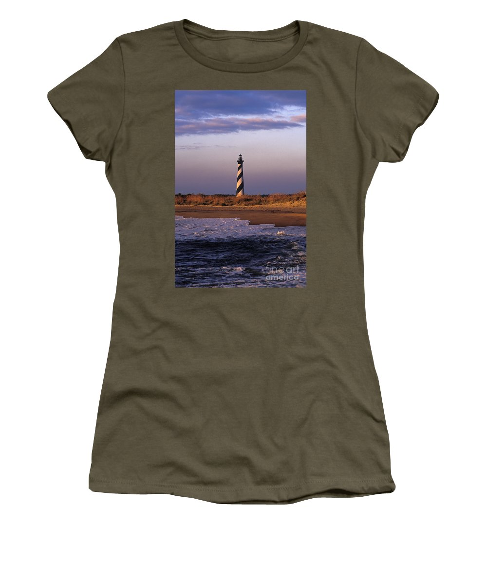 Hatteras Women's T-Shirt featuring the photograph Cape Hatteras Lighthouse At Sunrise - Fs000606 by Daniel Dempster
