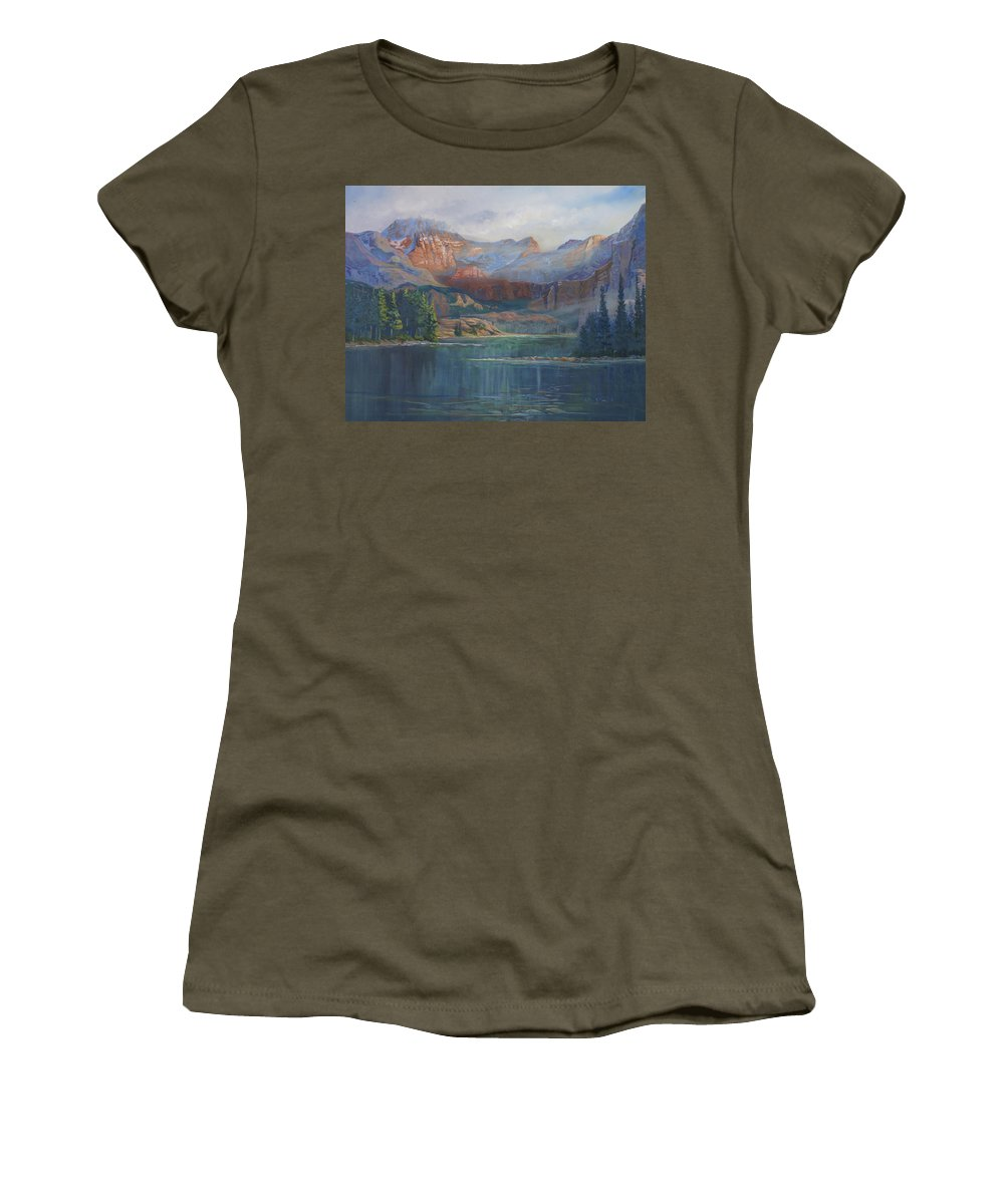 Capital Peak Women's T-Shirt (Athletic Fit) featuring the painting Capitol Peak Rocky Mountains by Heather Coen