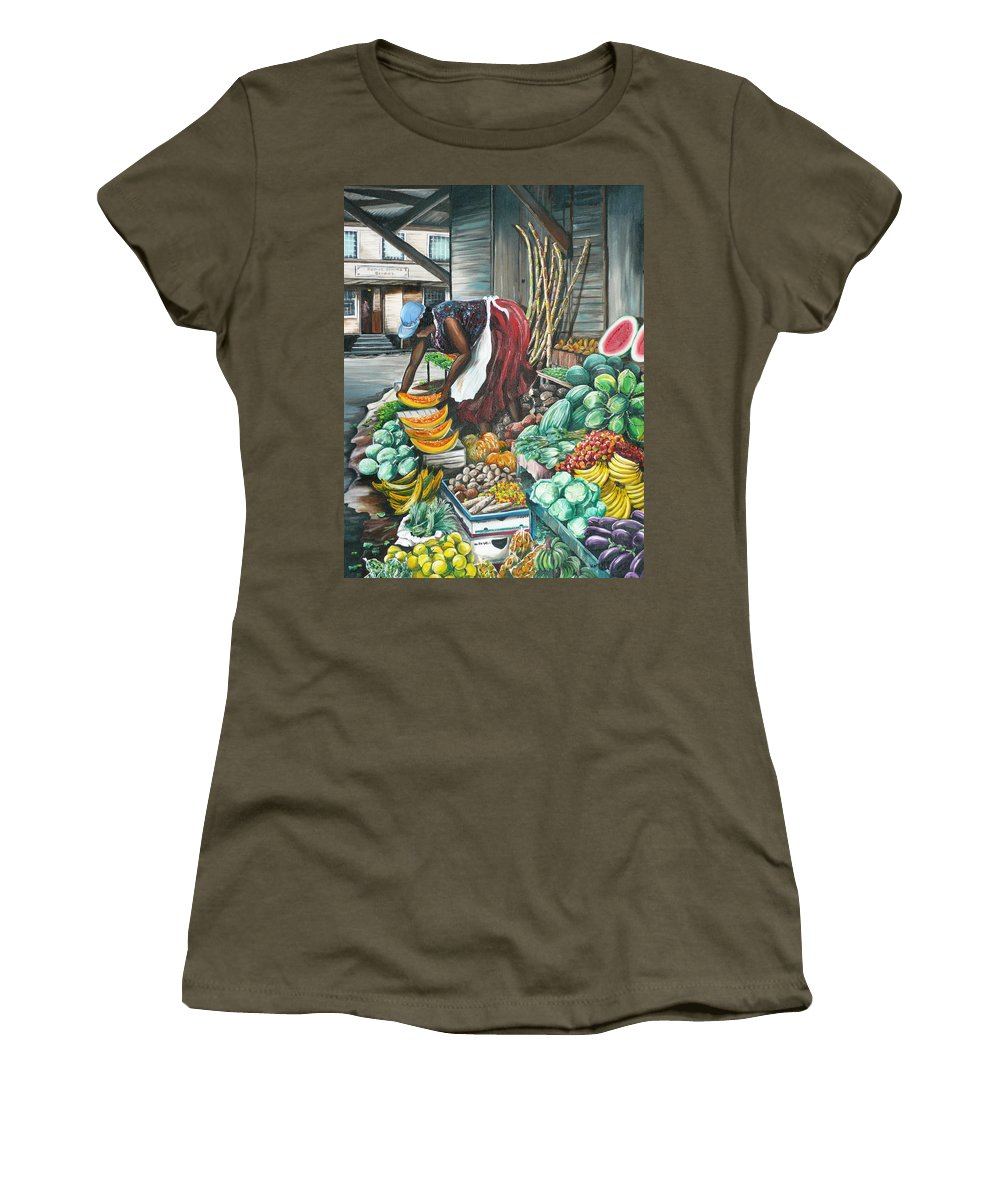 Caribbean Painting Market Vendor Painting Caribbean Market Painting Fruit Painting Vegetable Painting Woman Painting Tropical Painting City Scape Trinidad And Tobago Painting Typical Roadside Market Vendor In Trinidad Women's T-Shirt featuring the painting Caribbean Market Day by Karin Dawn Kelshall- Best