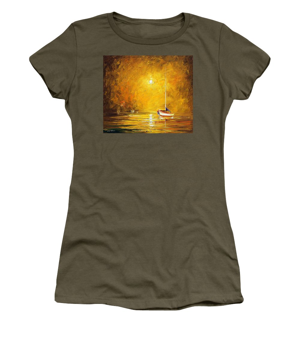 Afremov Women's T-Shirt featuring the painting Caribbean Sea by Leonid Afremov