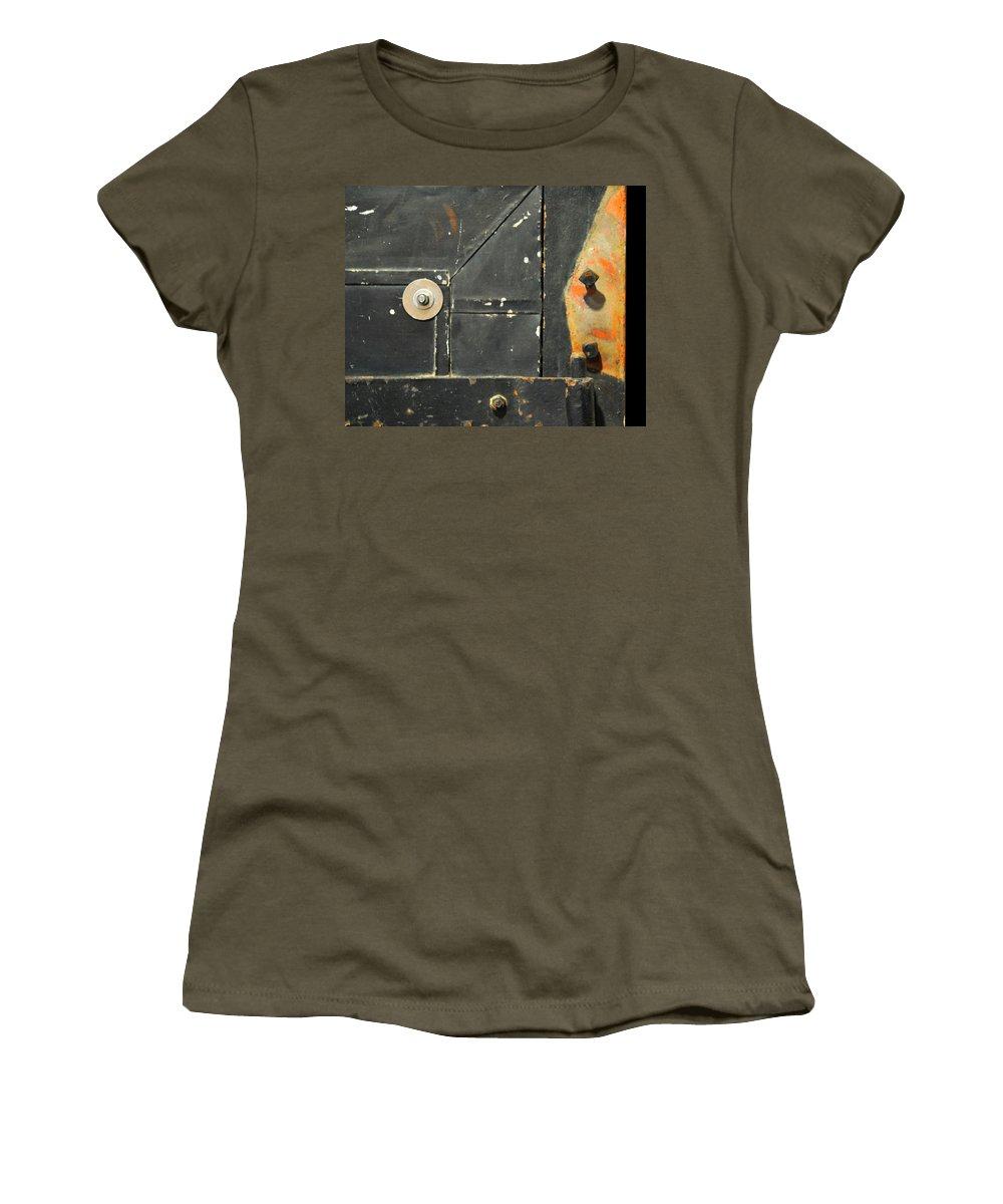 Firedoor Women's T-Shirt featuring the photograph Carlton 10 - Firedoor Detail by Tim Nyberg