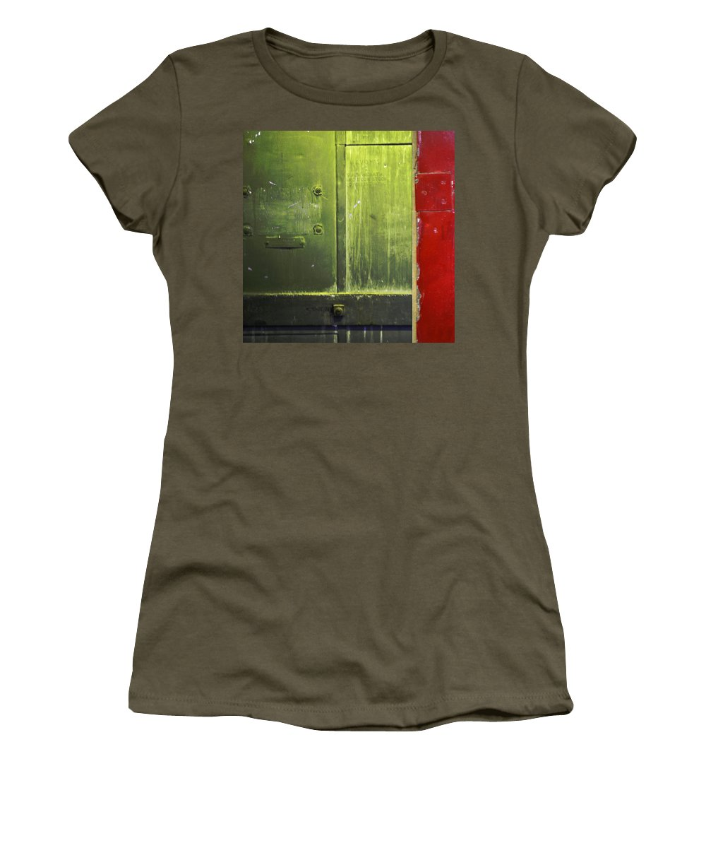 Metal Women's T-Shirt featuring the photograph Carlton 6 - Firedoor Abstract by Tim Nyberg