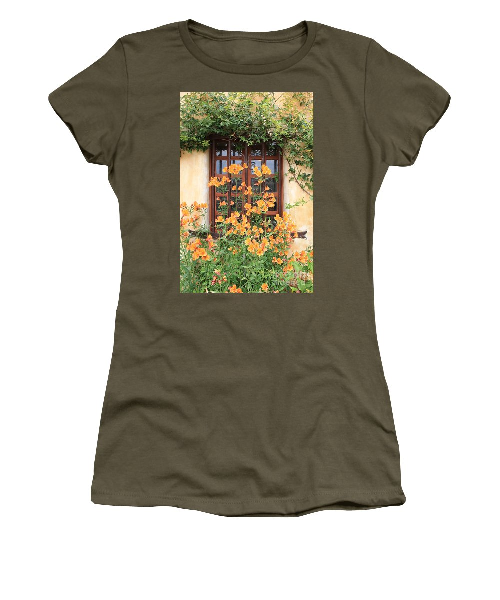 Alstroemeria Women's T-Shirt (Athletic Fit) featuring the photograph Carmel Mission Window by Carol Groenen