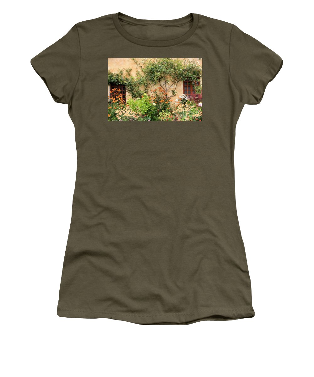 Carmel Mission Women's T-Shirt (Athletic Fit) featuring the photograph Carmel Mission Windows by Carol Groenen