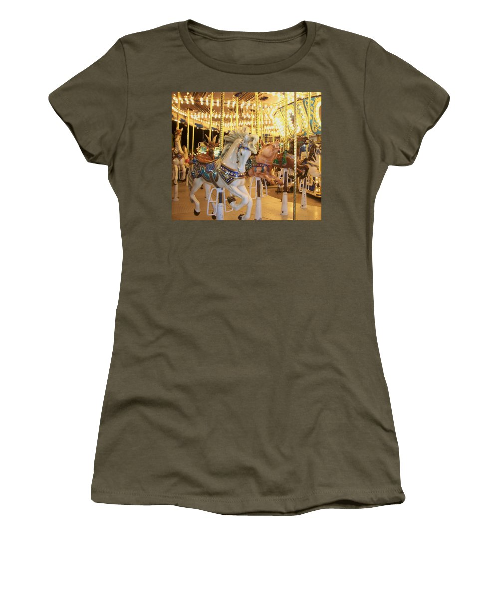 Carosel Horse Women's T-Shirt (Athletic Fit) featuring the photograph Carousel Horse 2 by Anita Burgermeister
