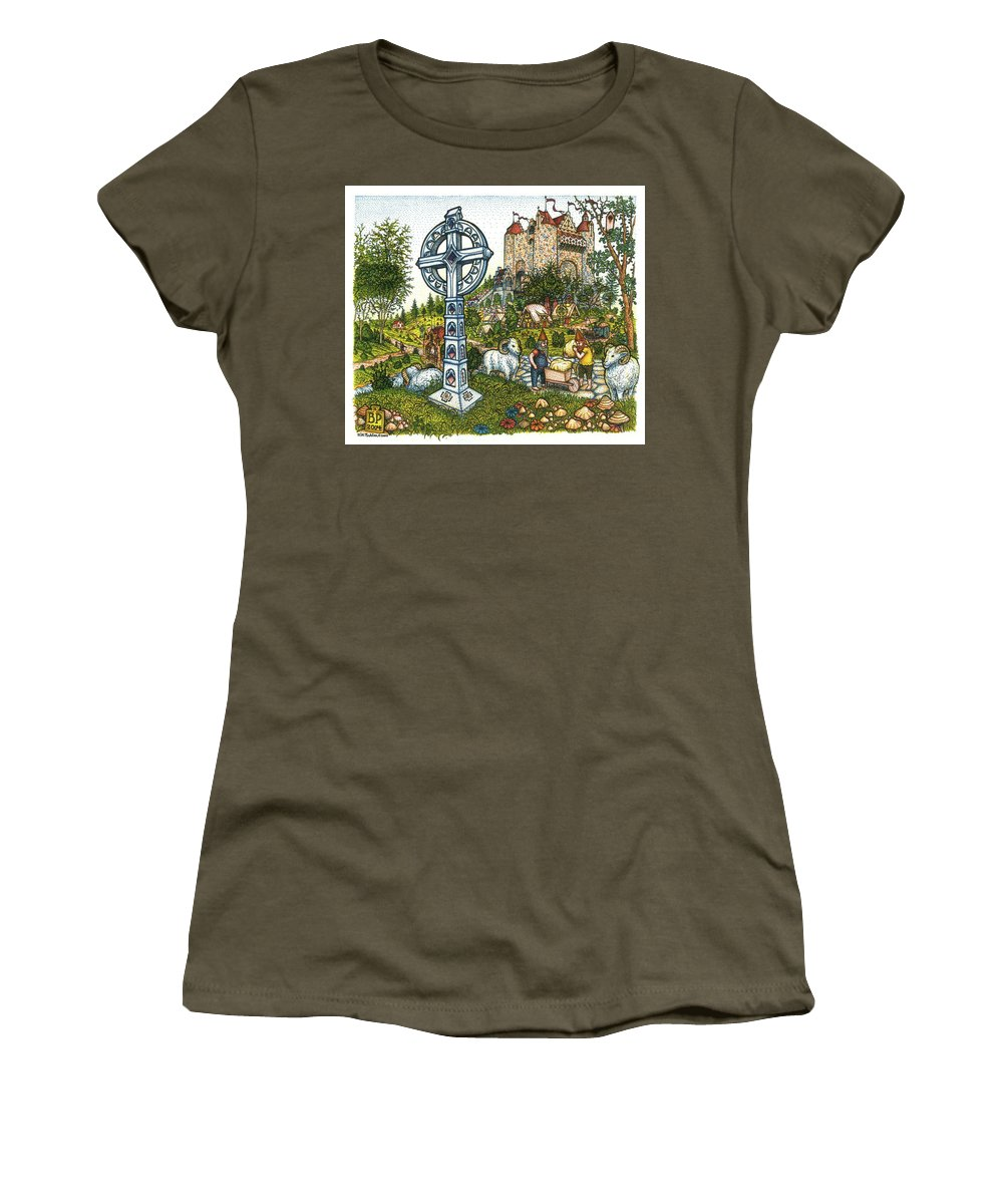 Castle Women's T-Shirt (Athletic Fit) featuring the drawing Castle Cross by Bill Perkins