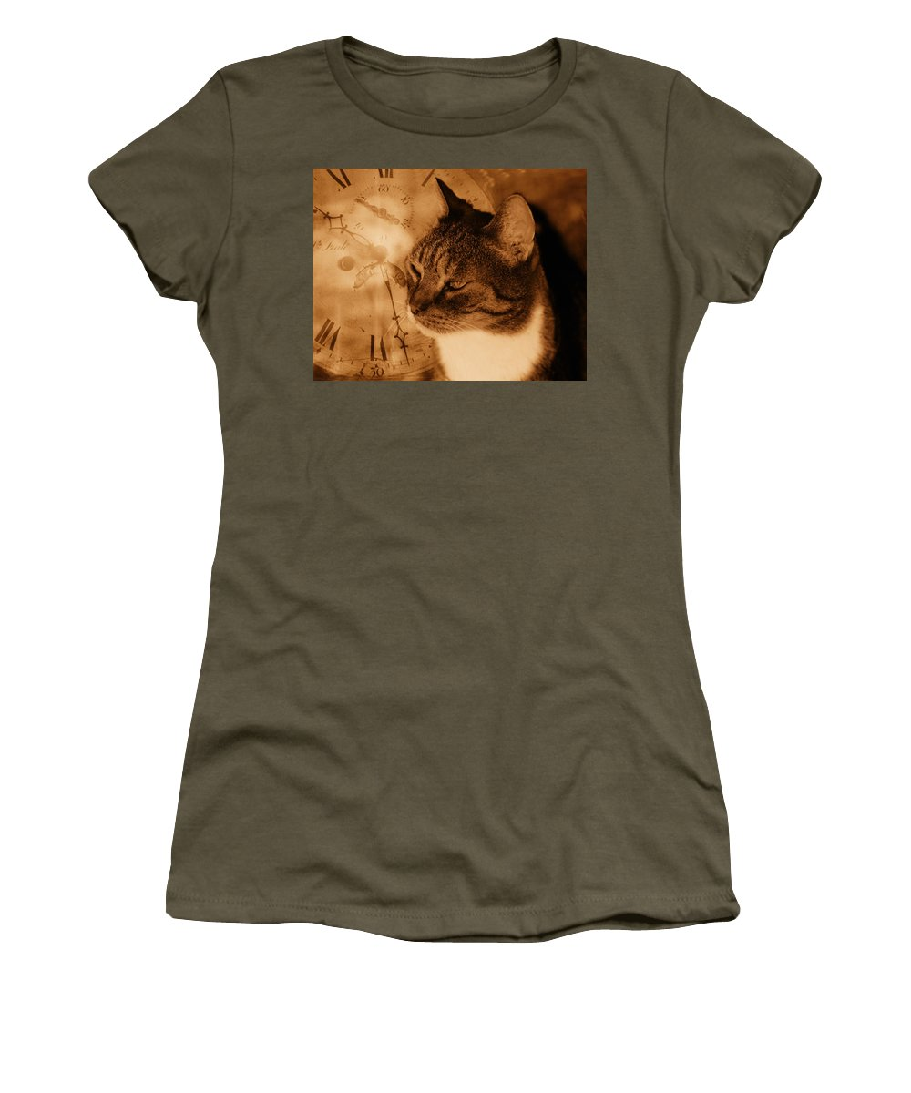 Cat Women's T-Shirt (Athletic Fit) featuring the photograph Cat And Clock by Guna Andersone