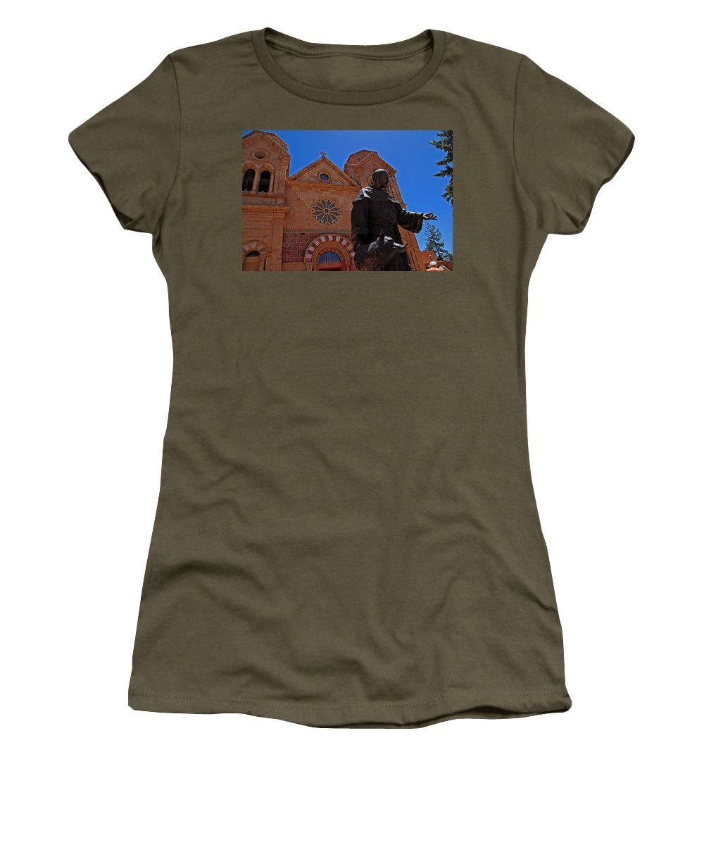 Architecture Women's T-Shirt (Athletic Fit) featuring the photograph Cathedral Basilica In Santa Fe by Susanne Van Hulst