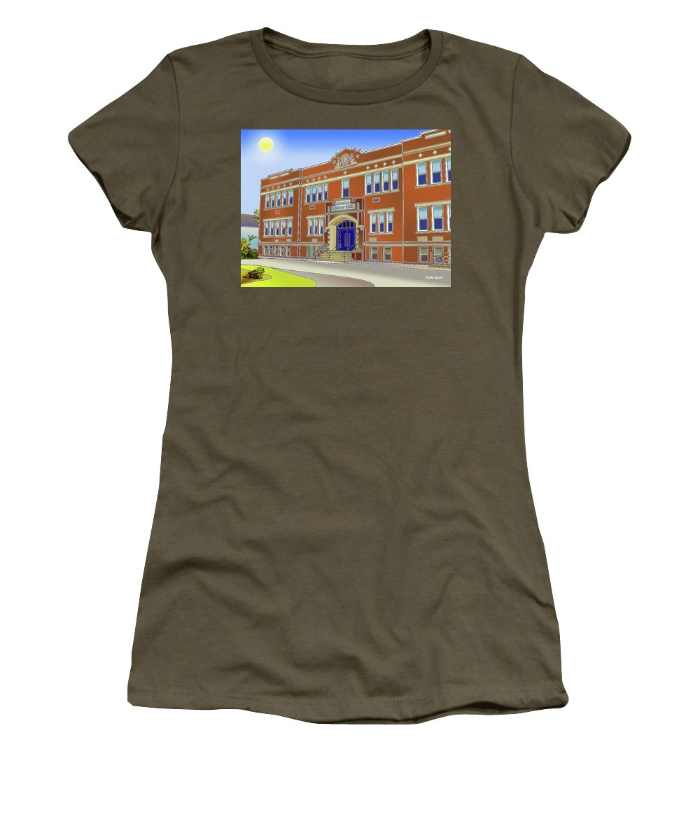 Catonsville Women's T-Shirt featuring the digital art Catonsville Elementary School by Stephen Younts