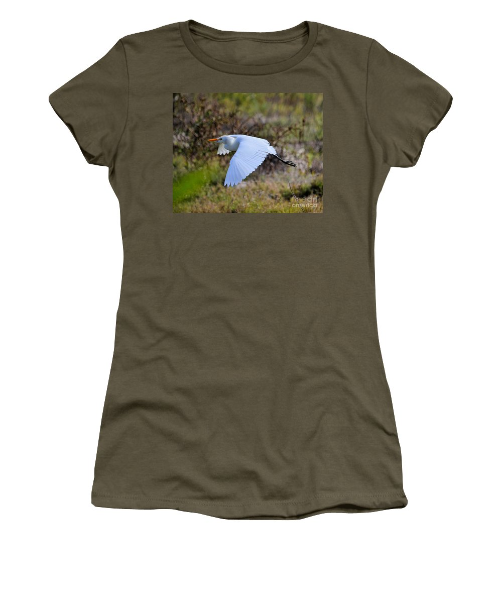 Flying Women's T-Shirt featuring the photograph Cattle Egret In Flight by Jim Lapp