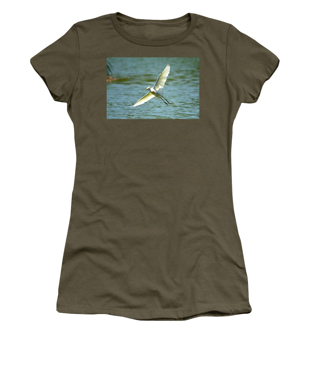 Roy Williams Women's T-Shirt (Athletic Fit) featuring the photograph Cattle Egret Right Banking Turn - Digitalart by Roy Williams