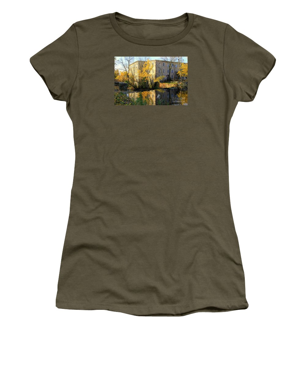 Cedarburg Women's T-Shirt featuring the photograph Cedarburg Wool Mill by Carol Komassa