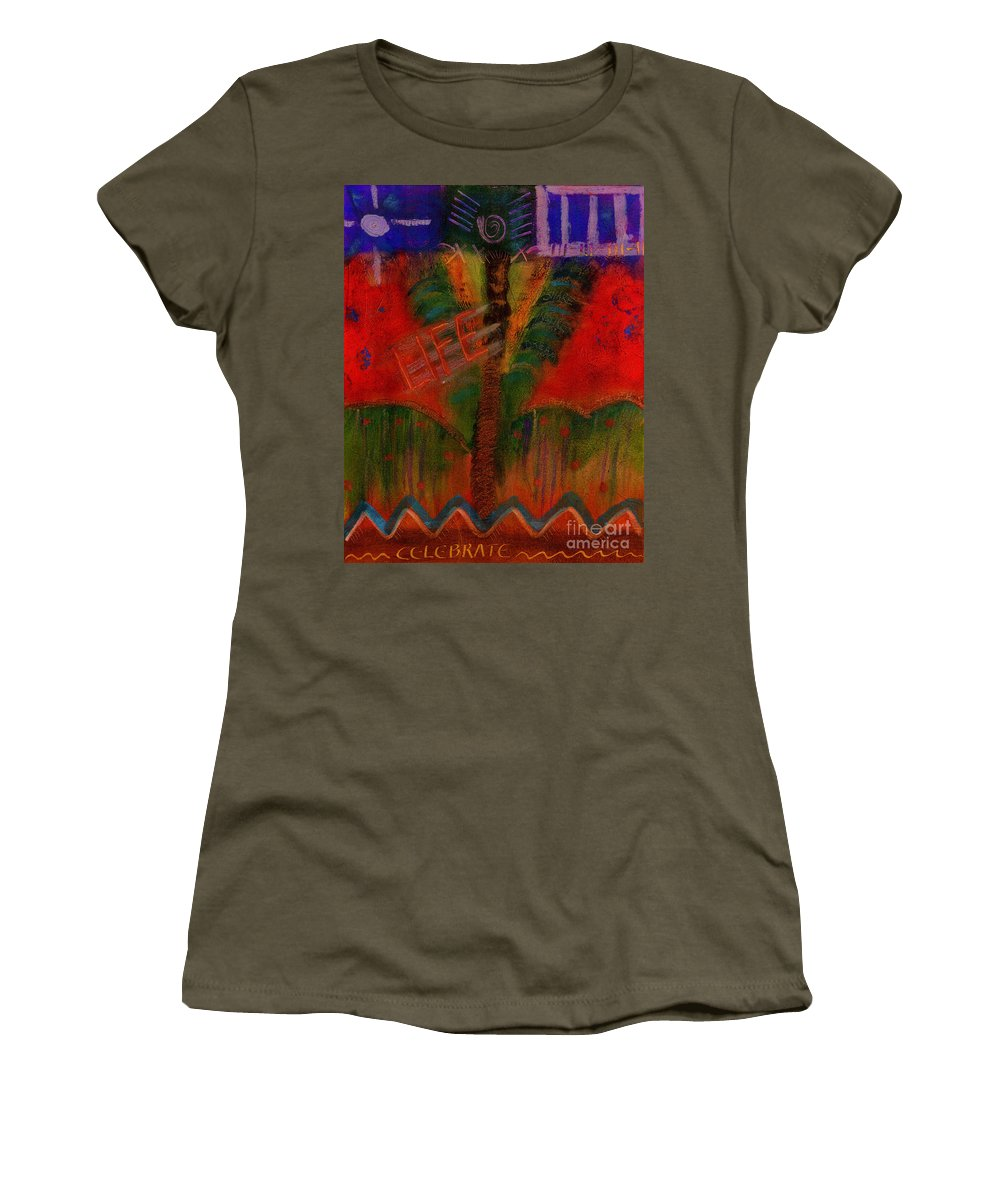 Abstract Women's T-Shirt featuring the painting Celebrate Life by Angela L Walker