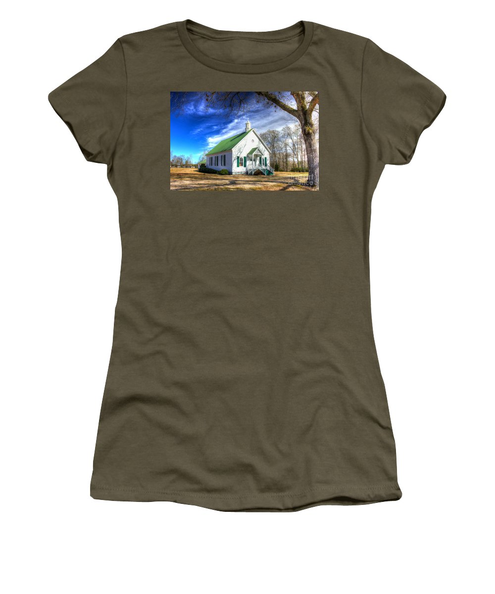 Reid Callaway Centennial Christian Church Women's T-Shirt (Athletic Fit) featuring the photograph Centennial Christian Church Est 1909 by Reid Callaway