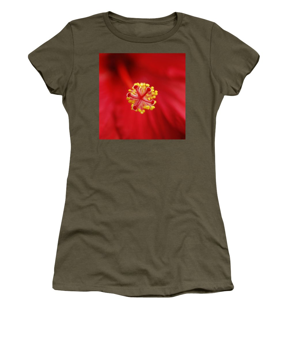 Flower Women's T-Shirt (Athletic Fit) featuring the photograph Center Of The Hibiscus Universe by Marilyn Hunt