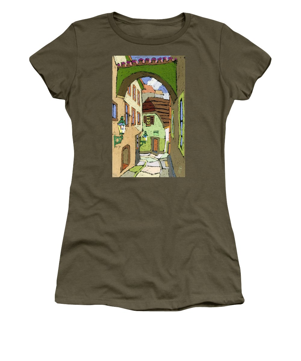 Pastel Women's T-Shirt featuring the painting Cesky Krumlov Masna Street by Yuriy Shevchuk