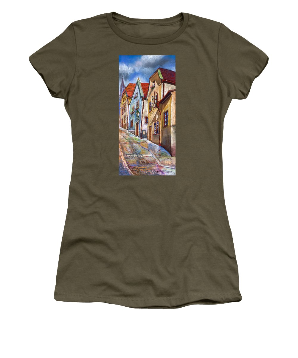 Pastel Chesky Krumlov Old Street Architectur Women's T-Shirt (Athletic Fit) featuring the painting Cesky Krumlov Old Street 2 by Yuriy Shevchuk