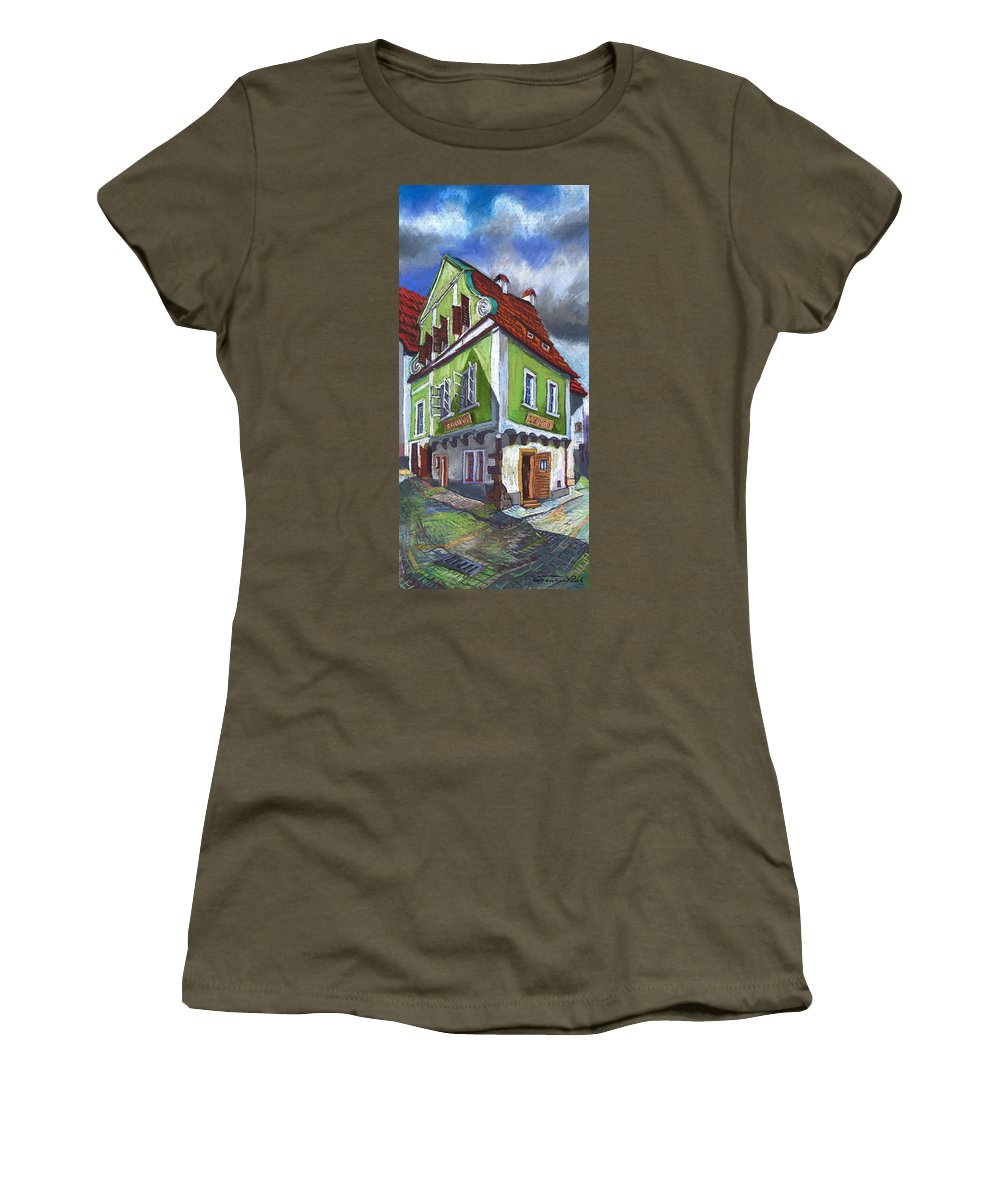 Pastel Chesky Krumlov Old Street Cityscape Realism Architectur Women's T-Shirt (Athletic Fit) featuring the painting Cesky Krumlov Old Street 3 by Yuriy Shevchuk