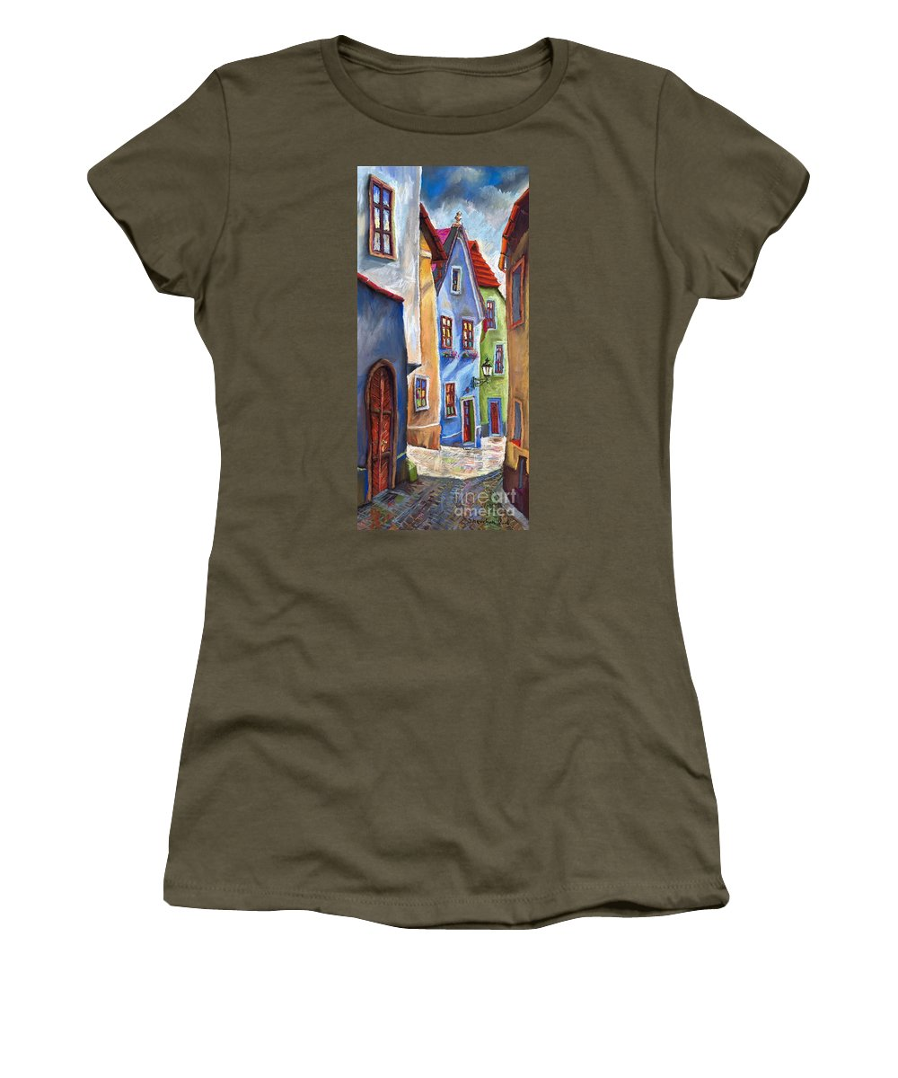 Cityscape Women's T-Shirt featuring the painting Cesky Krumlov Old Street by Yuriy Shevchuk
