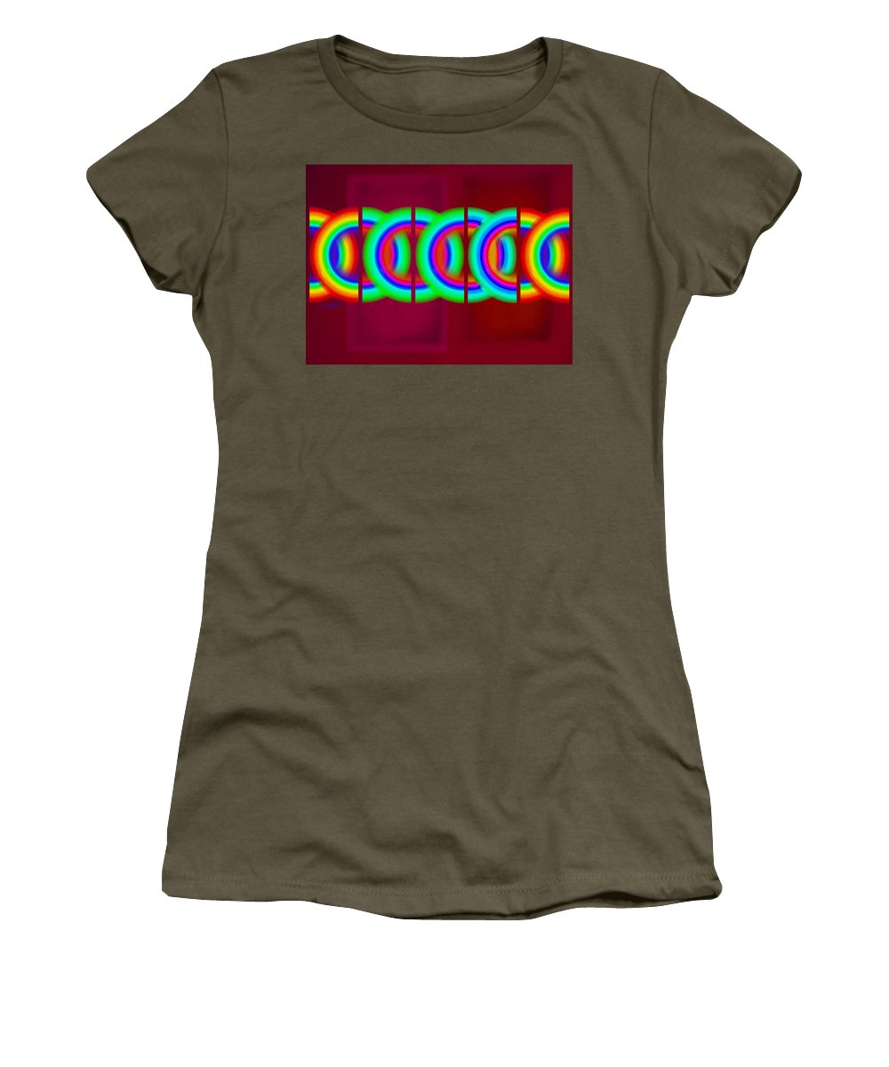 Abstract Women's T-Shirt featuring the painting Chain Reaction by Charles Stuart