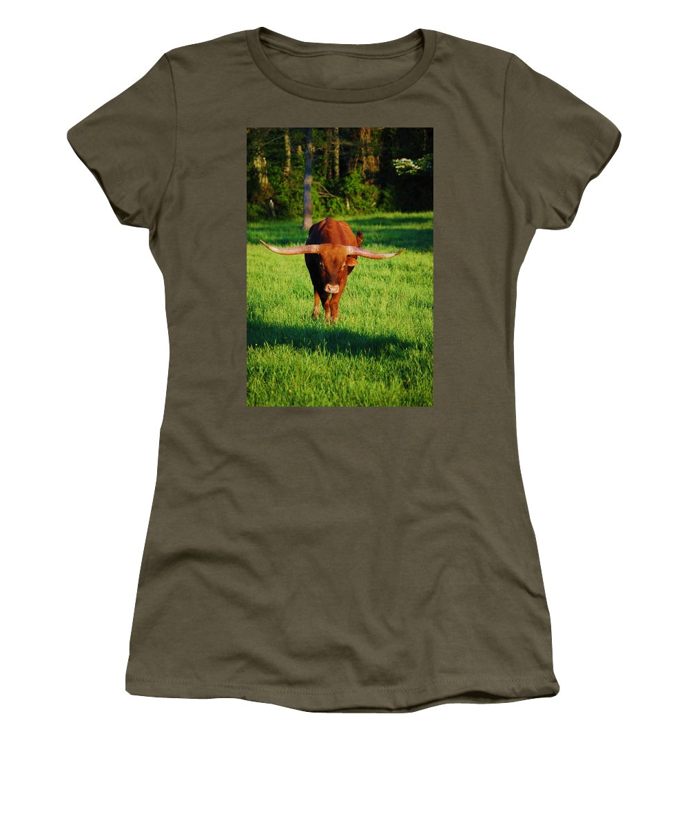 Animal Women's T-Shirt (Athletic Fit) featuring the photograph Charge by Eric Liller