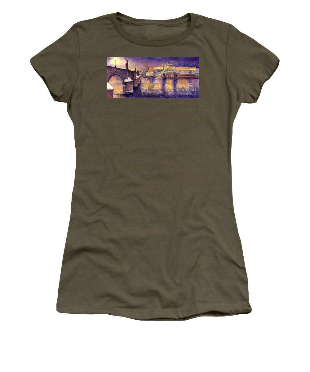 Cityscape Women's T-Shirt (Athletic Fit) featuring the painting Charles Bridge And Prague Castle With The Vltava River by Yuriy Shevchuk
