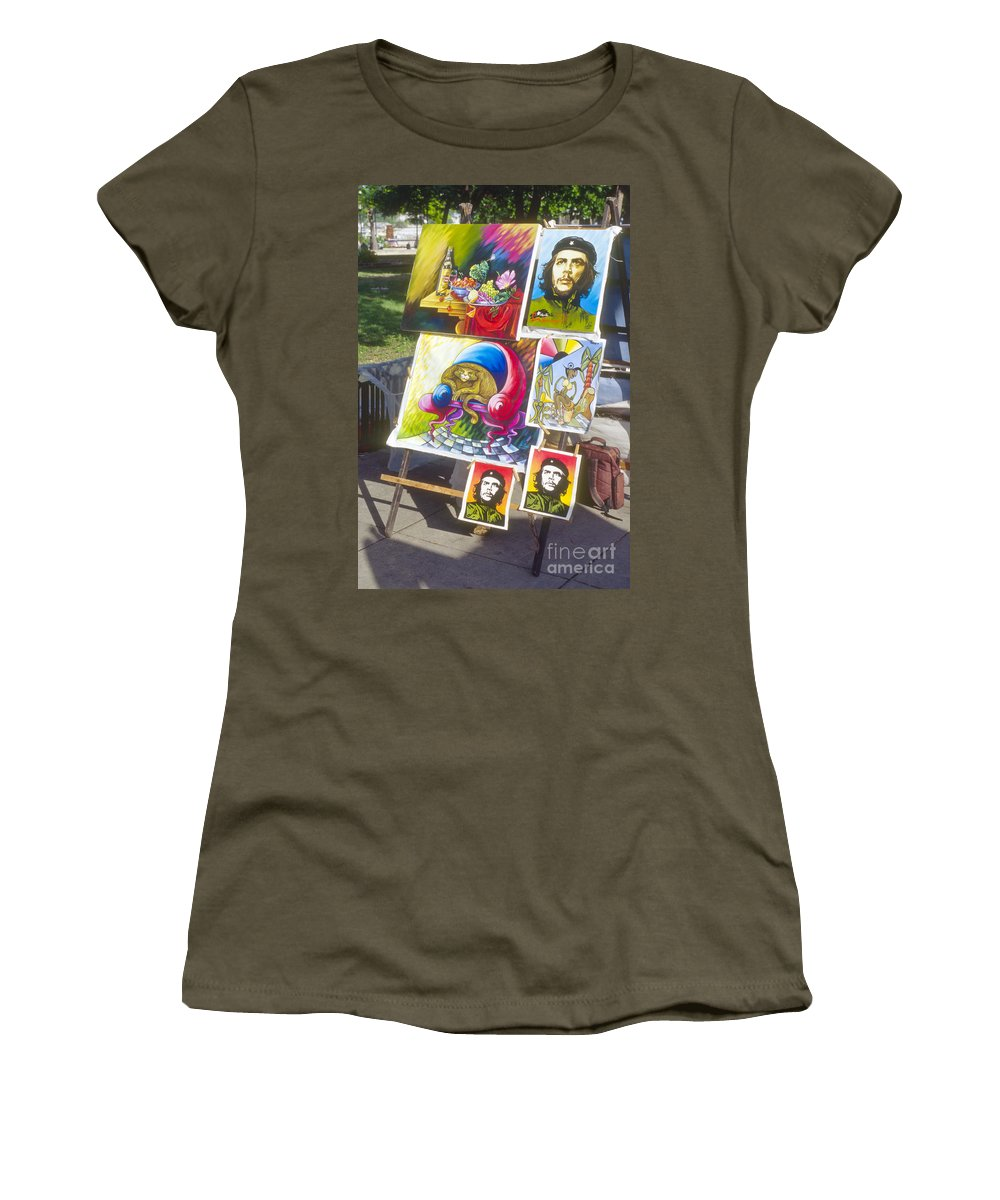 Havana Cuba Che Guevara Painting Paintings Artwork Artworks Market Markets Image Images City Cities Cityscape Cityscape Picture Pictures Art Women's T-Shirt (Athletic Fit) featuring the photograph Che Guevara And Other Artwork by Bob Phillips
