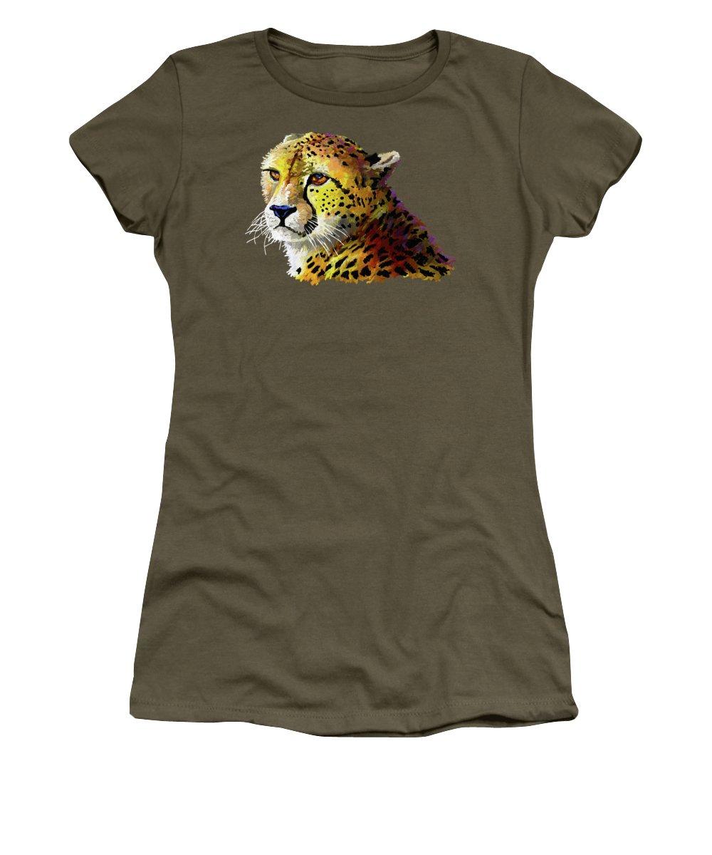 Nairobi Women's T-Shirt featuring the painting Cheetah by Anthony Mwangi