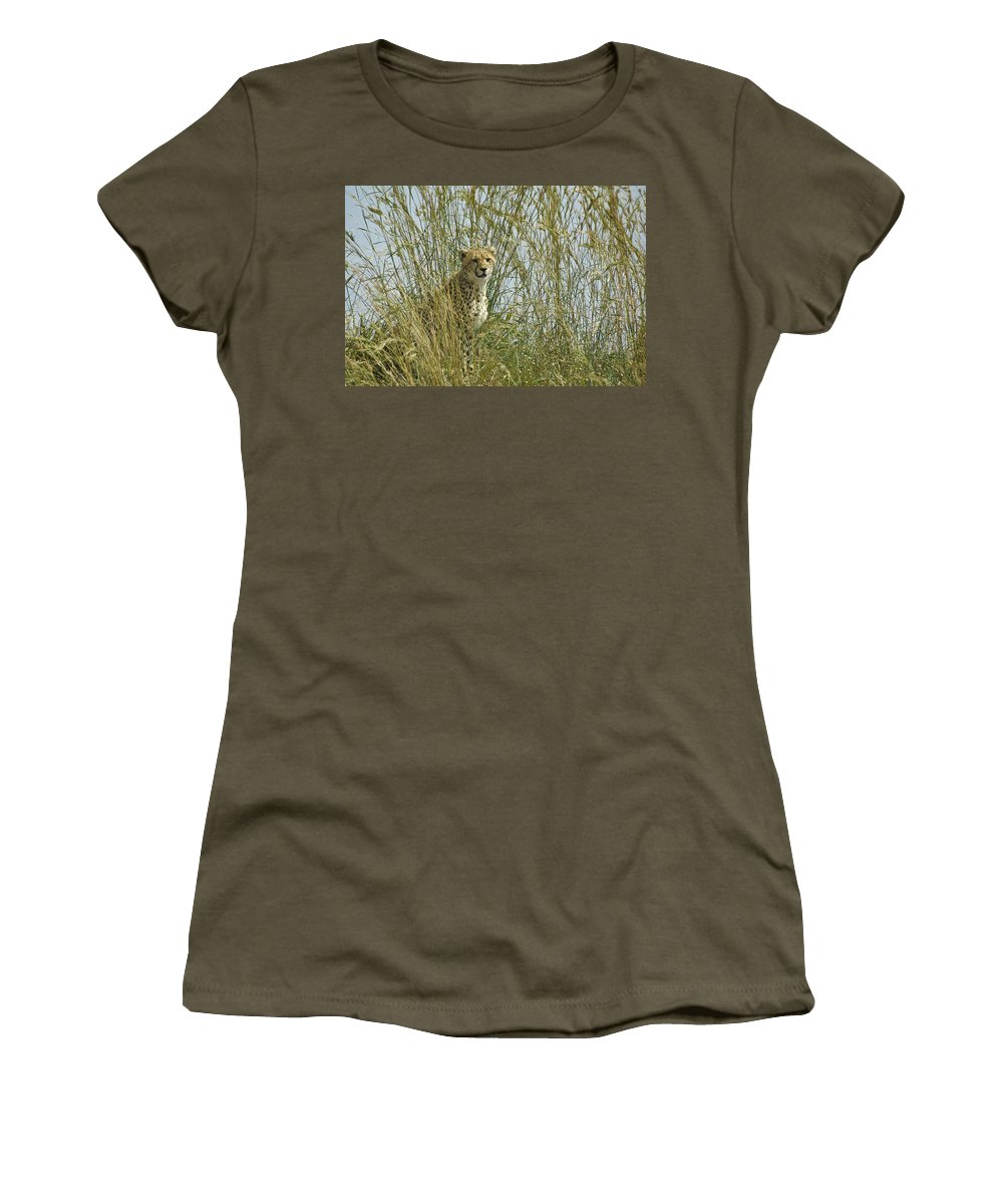 Africa Women's T-Shirt featuring the photograph Cheetah Cub In Grass by Michele Burgess