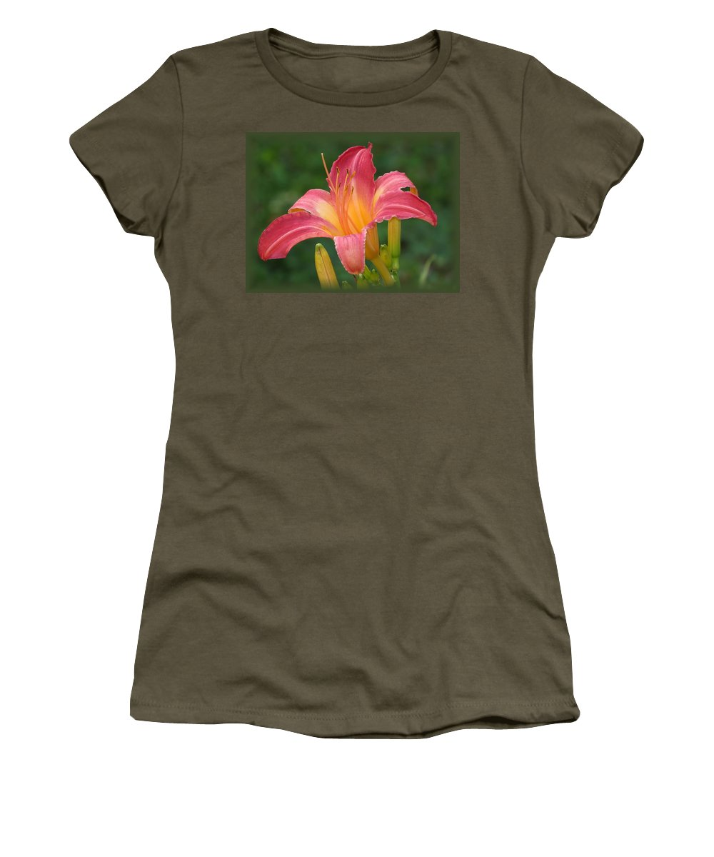 Cherry Cheeks Daylily Women's T-Shirt featuring the photograph Cherry Cheeks Daylily by MTBobbins Photography