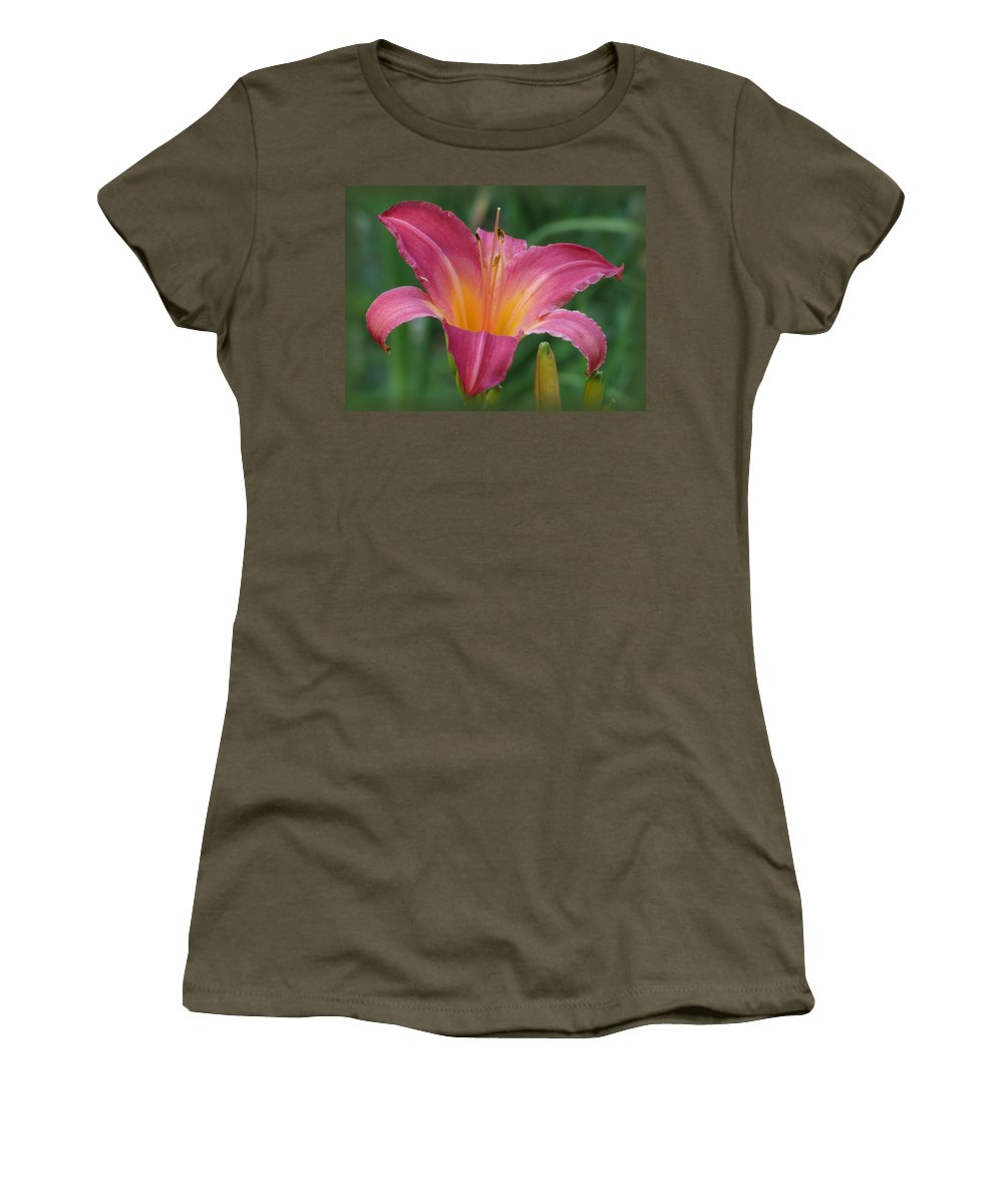 Cherry Cheeks Daylily Women's T-Shirt (Athletic Fit) featuring the photograph Cherry Cheeks by MTBobbins Photography