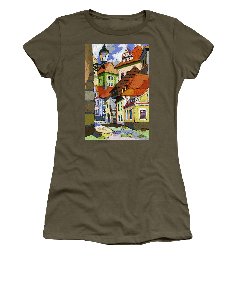Pastel Women's T-Shirt featuring the painting Chesky Krumlov Masna Street 1 by Yuriy Shevchuk