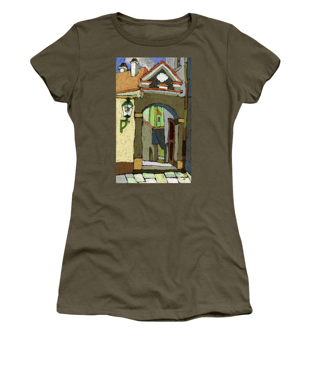 Pastel Women's T-Shirt featuring the painting Chesky Krumlov Old Street Latran by Yuriy Shevchuk