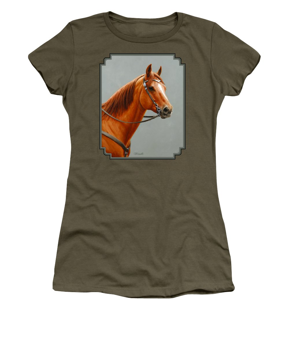 Horse Women's T-Shirt (Junior Cut) featuring the painting Chestnut Dun Horse Painting by Crista Forest