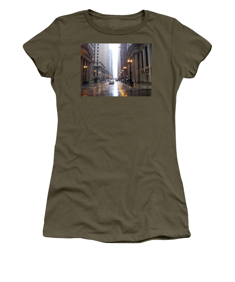Chicago Women's T-Shirt featuring the photograph Chicago In The Rain by Anita Burgermeister