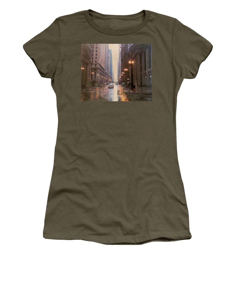 Chicago Women's T-Shirt featuring the painting Chicago Rainy Street by Anita Burgermeister