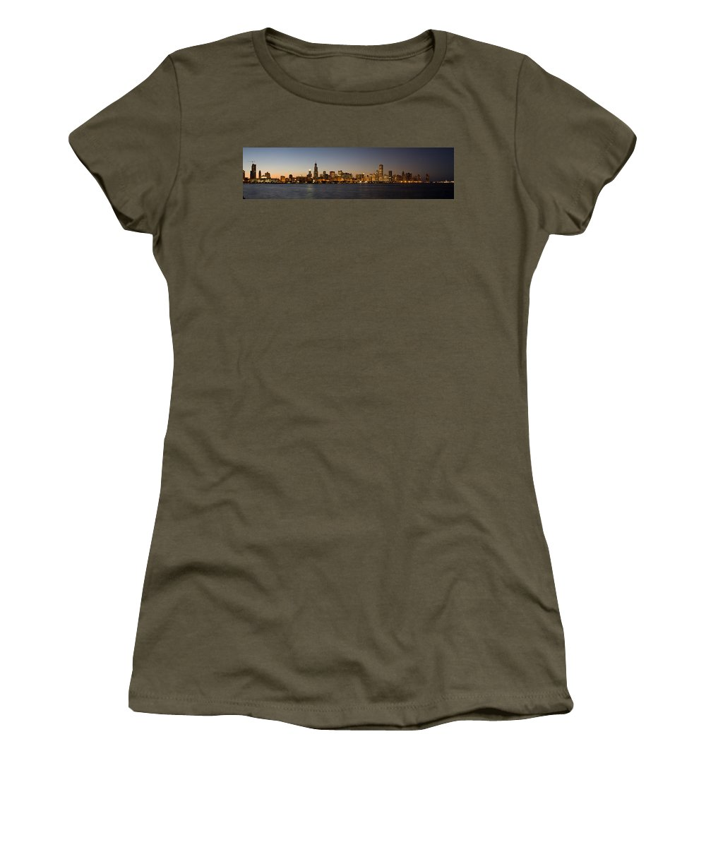 Chicago Women's T-Shirt featuring the photograph Chicago Skyline Panorama by Steve Gadomski