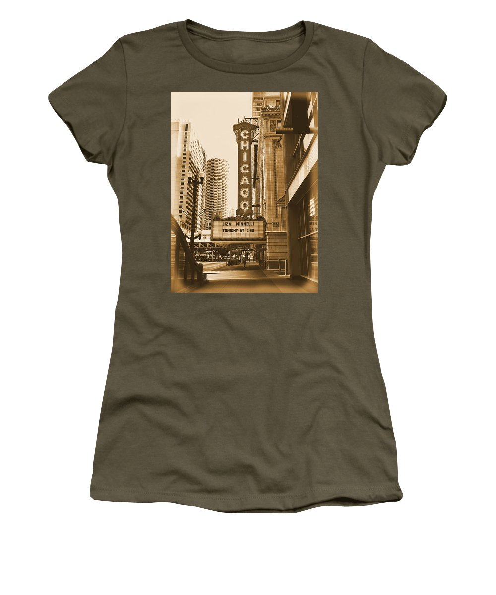 Chicago Theater Marquee Women's T-Shirt (Athletic Fit) featuring the photograph Chicago Theater - 3 by Ely Arsha