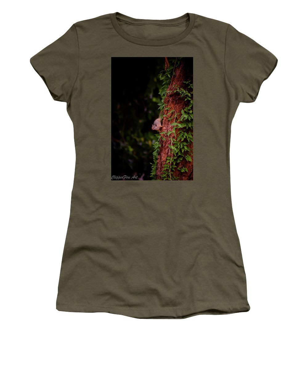 African Tree Squirrel Women's T-Shirt featuring the photograph Chin Up by Tracey Beer