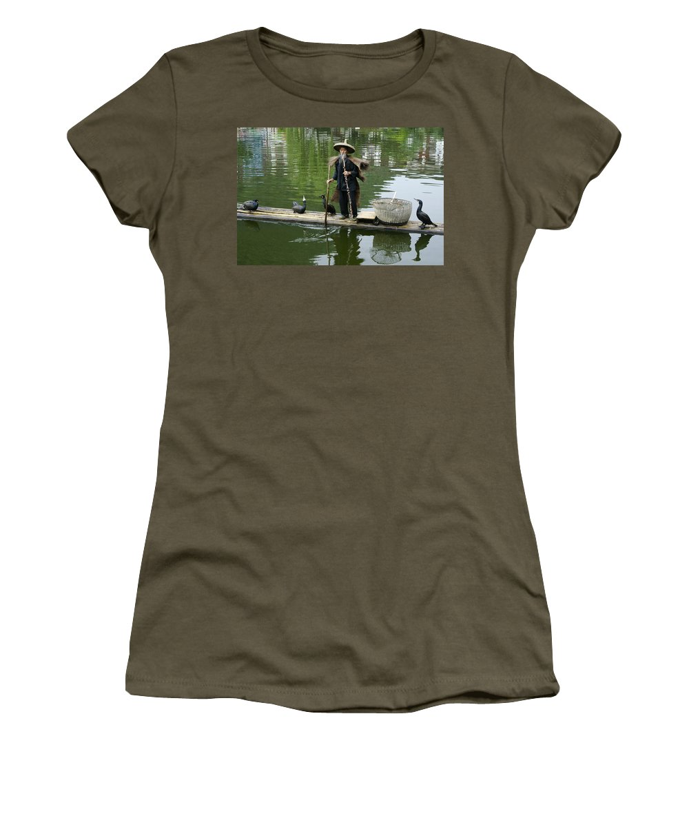 Asia Women's T-Shirt featuring the photograph Chinese Cormorant Fisherman by Michele Burgess