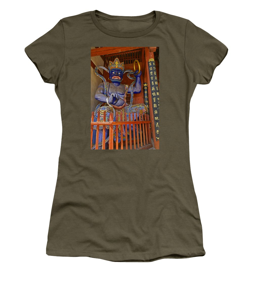 Asia Women's T-Shirt featuring the photograph Chinese Temple Guardian by Michele Burgess