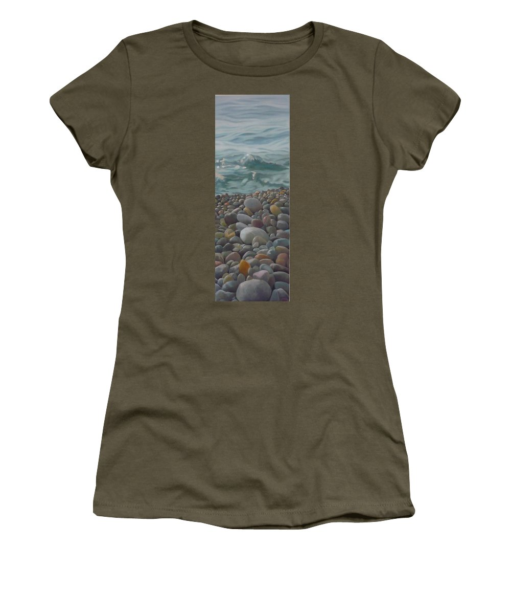 Sea Oil Pebbles Beach Stones Women's T-Shirt featuring the painting Chios Pebbles by Caroline Philp